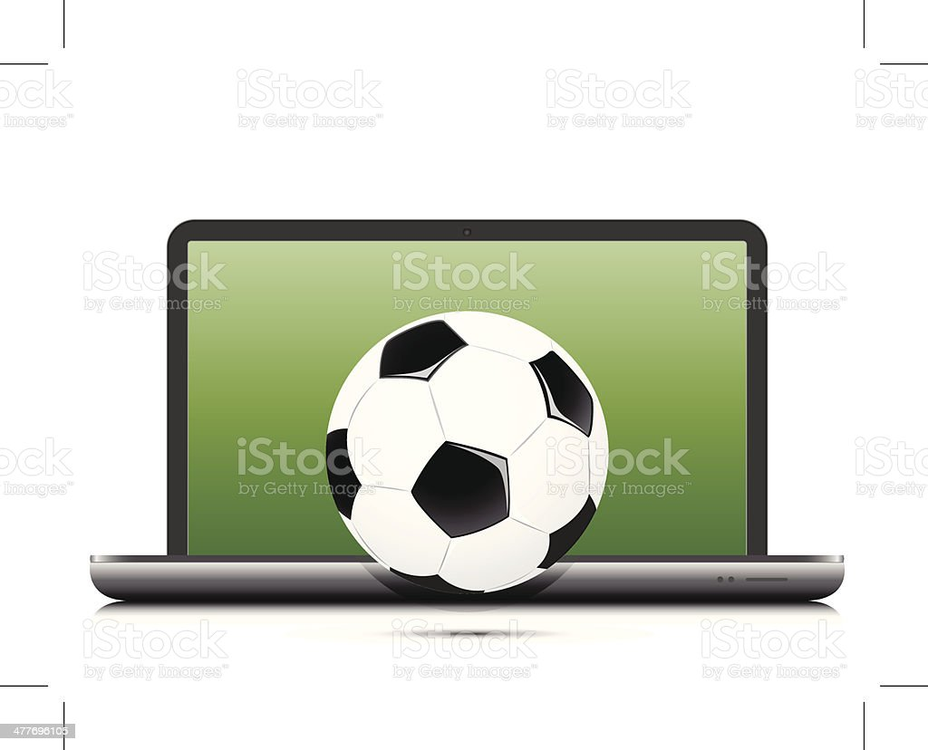 Soccer football laptop concept royalty-free stock vector art