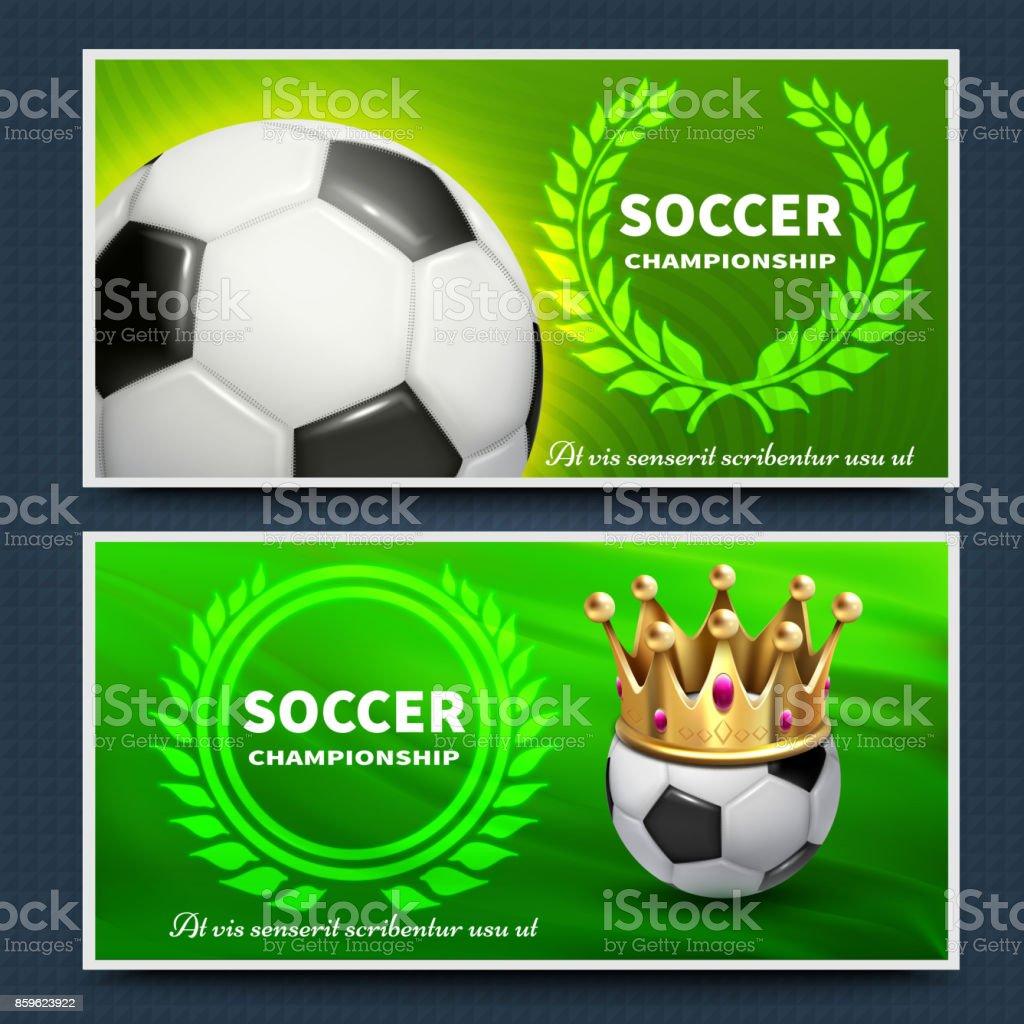 Soccer football league vector announcement posters set vector art illustration
