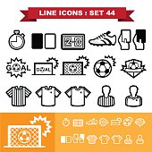 Soccer football  Line icons set 44