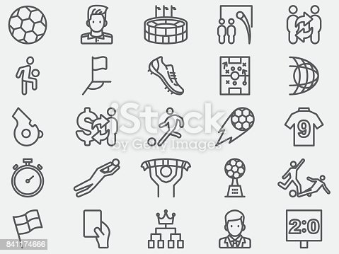 Soccer Football Line Icons