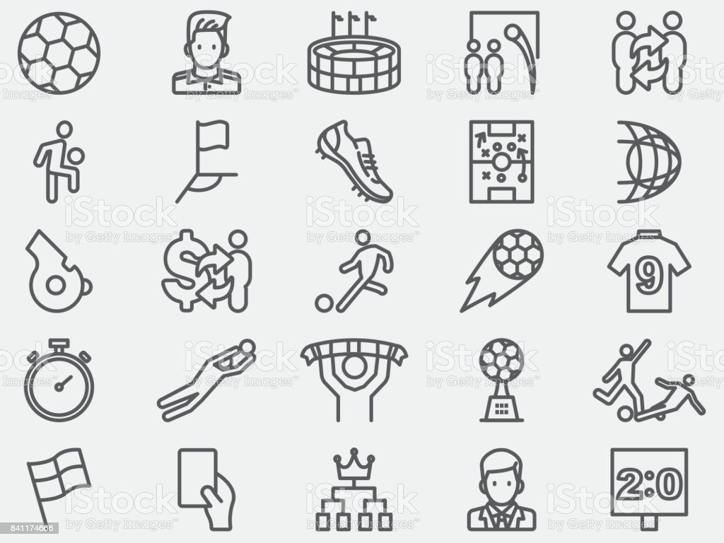 Soccer Football Line Icons vector art illustration