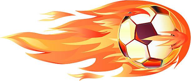 bildbanksillustrationer, clip art samt tecknat material och ikoner med soccer football on fire - fotboll eld