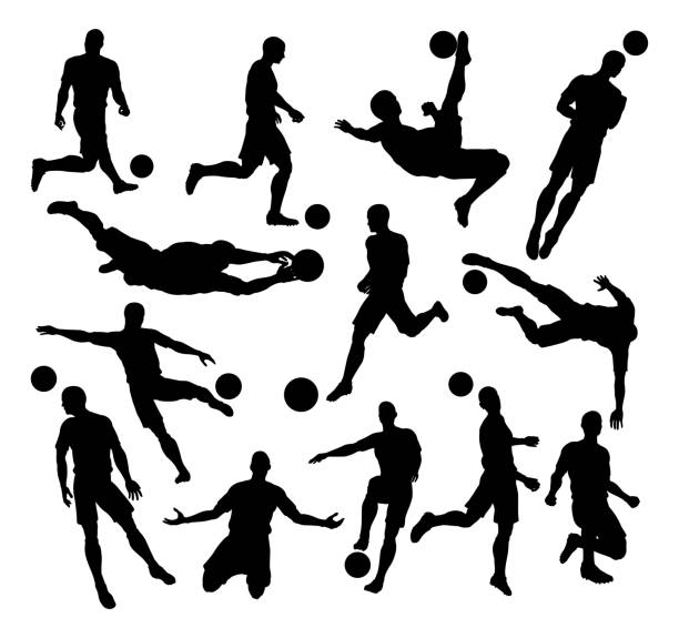 illustrations, cliparts, dessins animés et icônes de soccer football player silhouettes - football