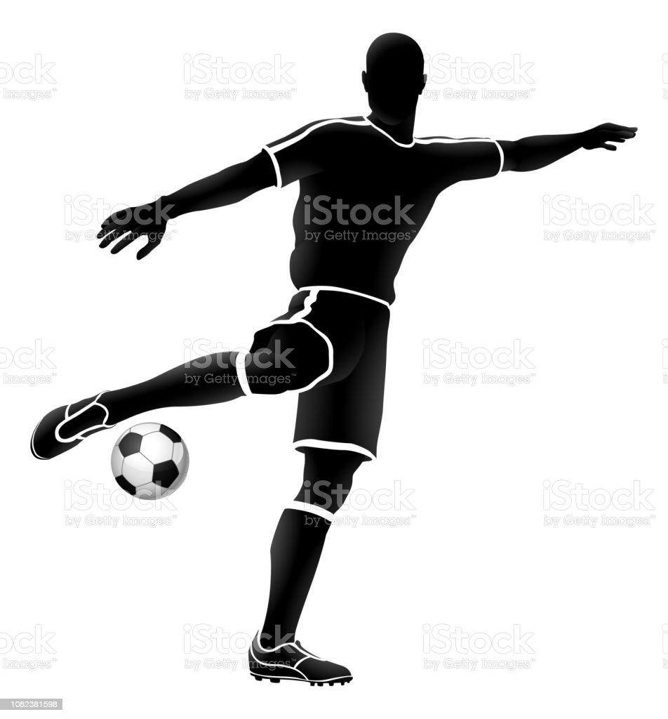 Fussballspieler Sportliche Silhouette Stock Vektor Art Und