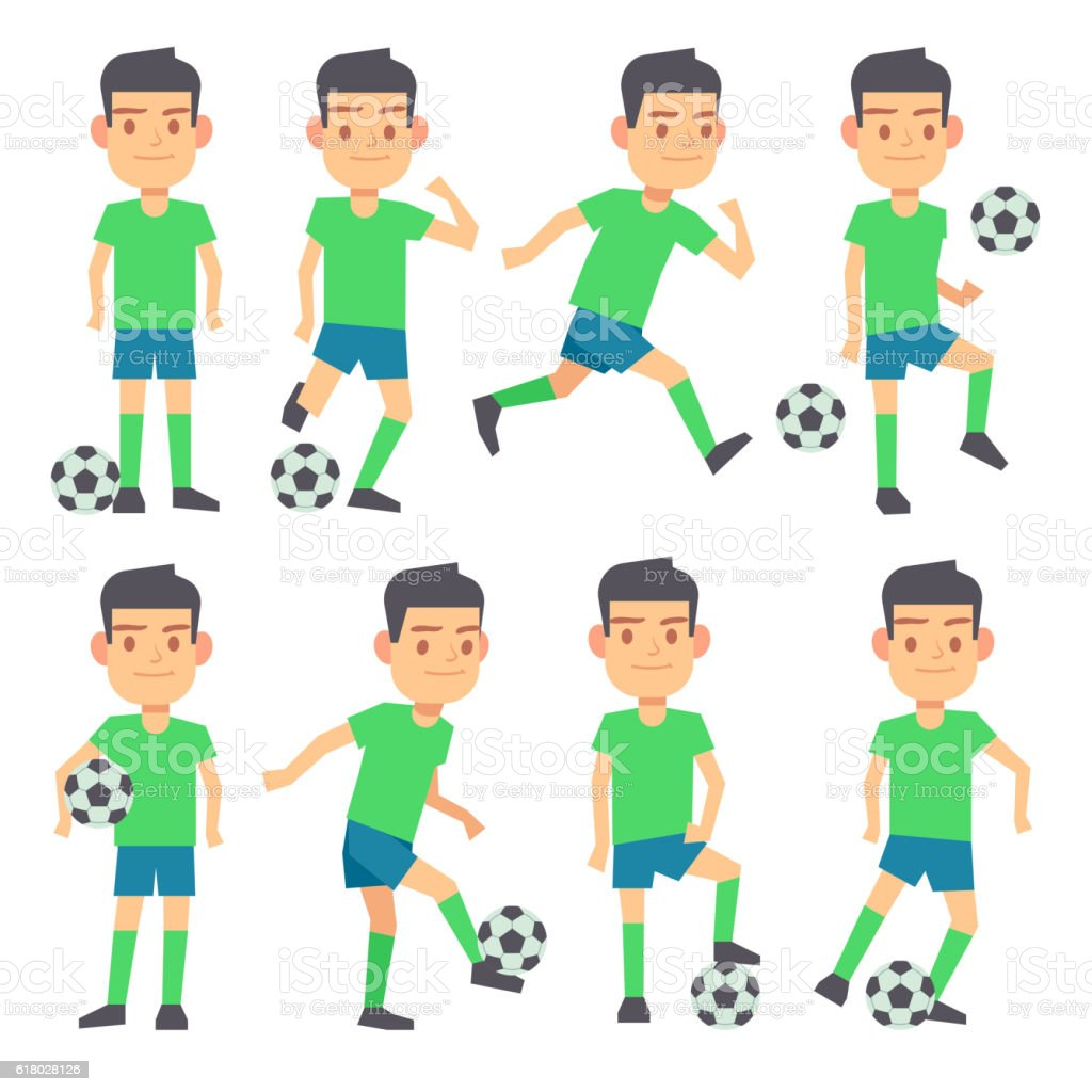 Soccer, football players playing ball set of vector flat characters vector art illustration