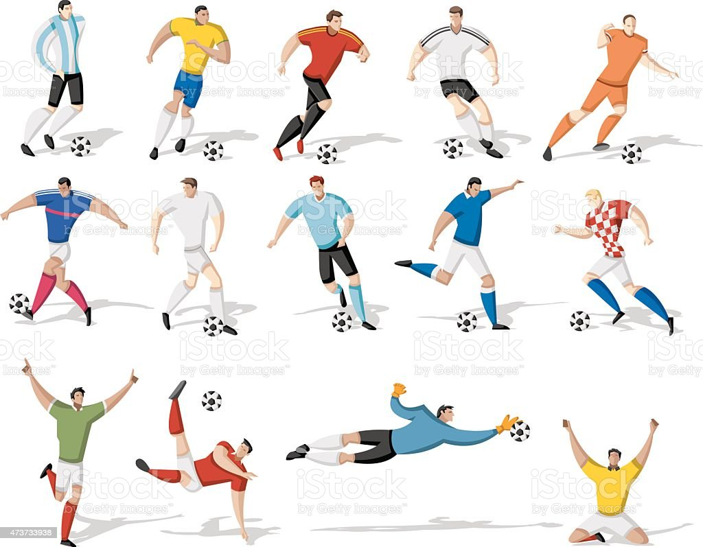 Soccer Football players vector art illustration