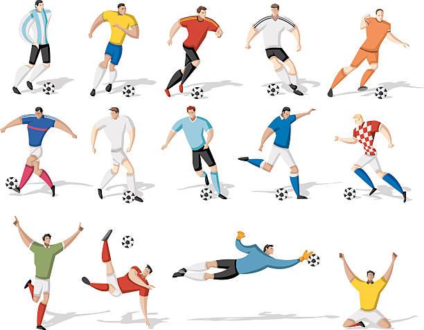 stockillustraties, clipart, cartoons en iconen met soccer football players - soccer player