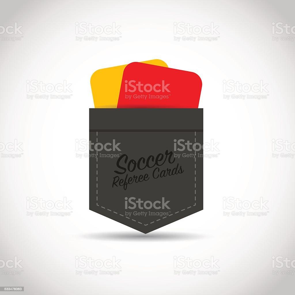 Soccer football referee red yellow cards vector art illustration