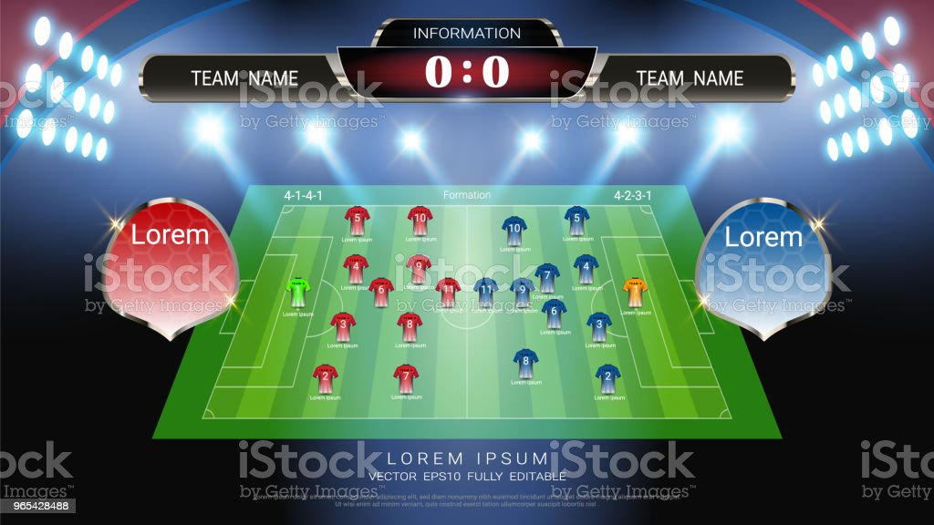 Soccer football scoreboard, Sport match Home Versus Away, Global stats broadcast graphic template with Jersey uniforms players lining up formation for score, statistics, shots or game results display. soccer football scoreboard sport match home versus away global stats broadcast graphic template with jersey uniforms players lining up formation for score statistics shots or game results display - stockowe grafiki wektorowe i więcej obrazów 2018 royalty-free