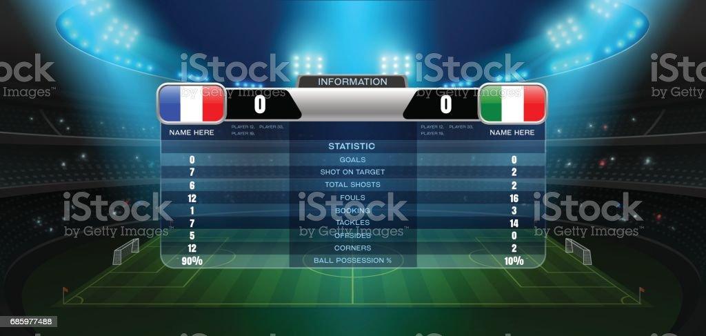 soccer football stadium spotlight and scoreboard vector art illustration