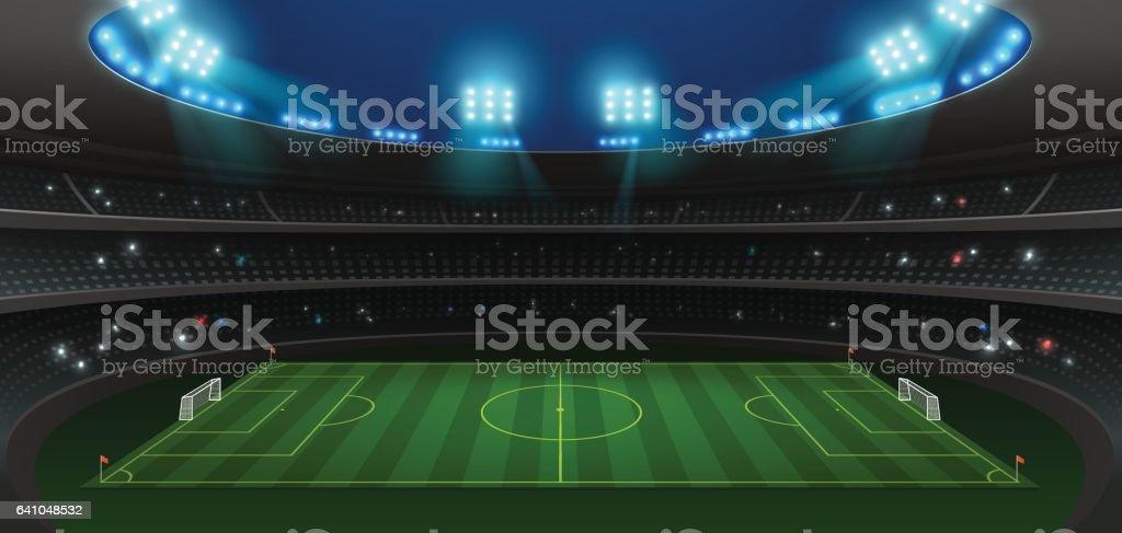 soccer football stadium spotlight vector art illustration