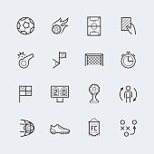 Soccer, football vector icon set in thin line style