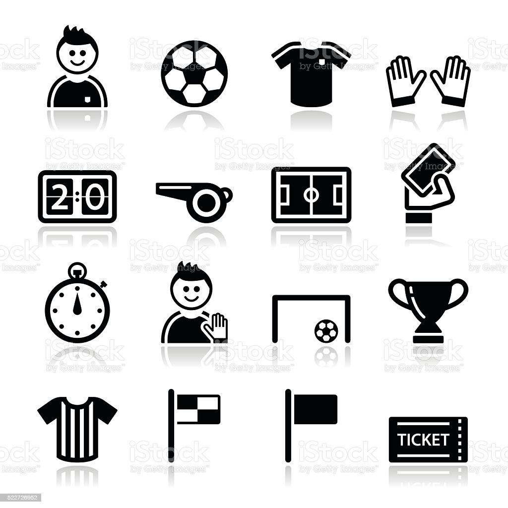 Football Foot Soccer Vector Icones Ensemble Cliparts Vectoriels Et