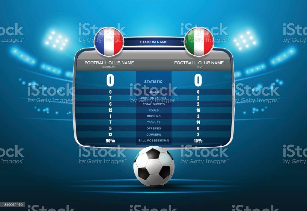 soccer football with scoreboard and spotlight vector art illustration