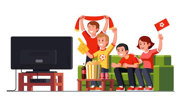 fußball-spiel-fans jubeln beobachten spiel zusammen auf einem hause flachen fernseher sitzen auf einer couch. fußball-sport. flache vektor clipart - fussball fan stock-grafiken, -clipart, -cartoons und -symbole