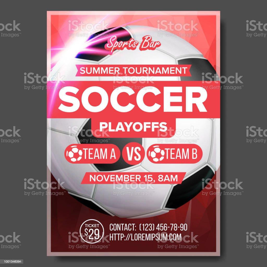 Soccer Game Poster Vector Modern Tournament Design For Sport Bar Pub