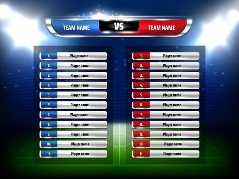 Soccer game scoreboard realistic vector template