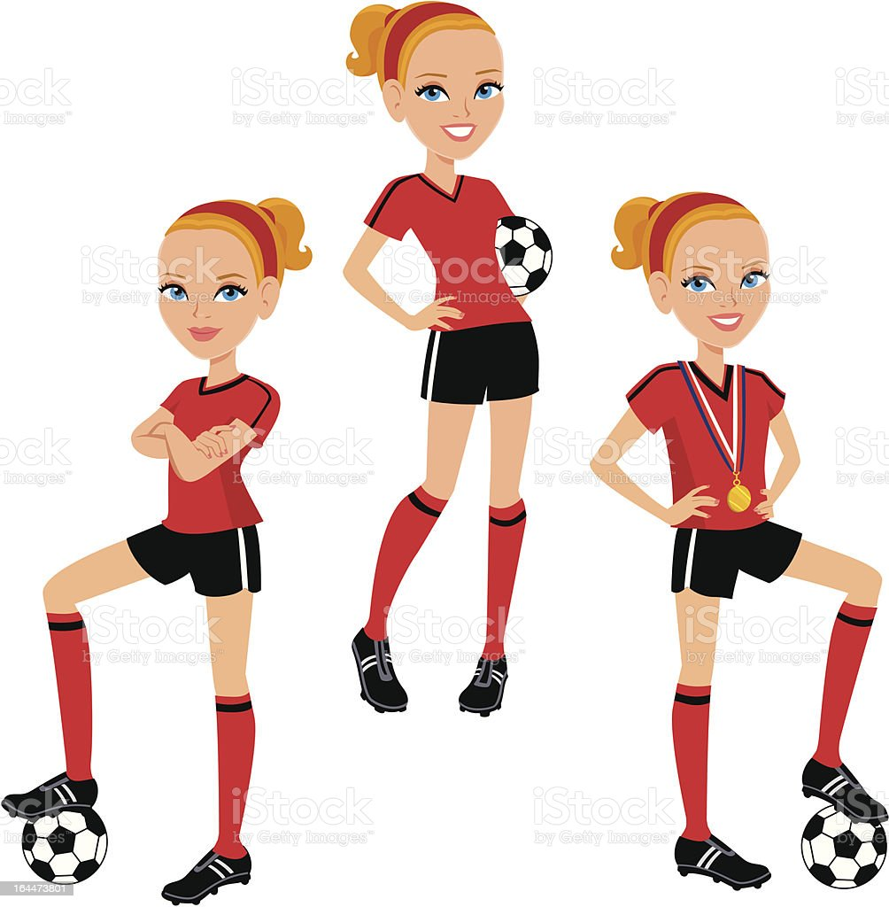 Soccer girl cartoon 3 poses set stock vector art more - Fille joue au foot ...