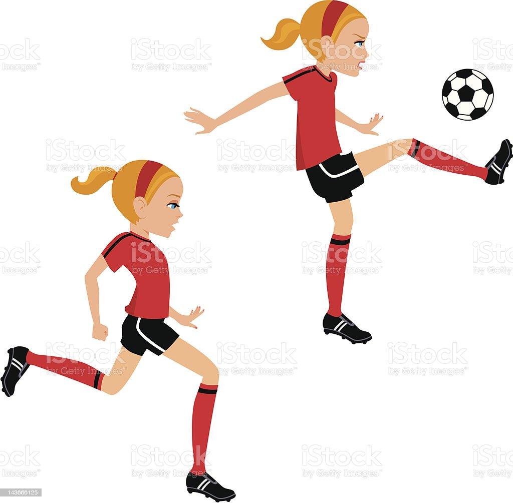 Girl soccer ball cartoon