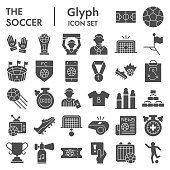 Soccer glyph icon set, football set symbols collection, vector sketches, logo illustrations, computer web signs solid pictograms package isolated on white background, eps 10