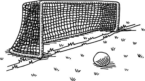 Soccer Goal Ball Drawing Hand-drawn vector drawing of a Soccer Goal and a Ball. Black-and-White sketch on a transparent background (.eps-file). Included files are EPS (v10) and Hi-Res JPG. sport stock illustrations