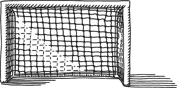 Soccer Goal Drawing Hand-drawn vector drawing of a Soccer Goal. Black-and-White sketch on a transparent background (.eps-file). Included files are EPS (v10) and Hi-Res JPG. soccer stock illustrations