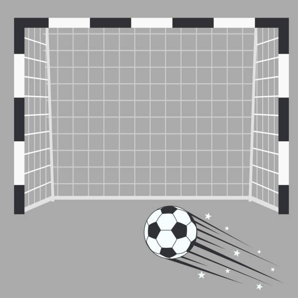 足球進球, 足球門柱與網在體育場背景。 - 進球 幅插畫檔、美工圖案、卡通及圖標