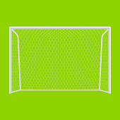 Soccer goal in white and green background