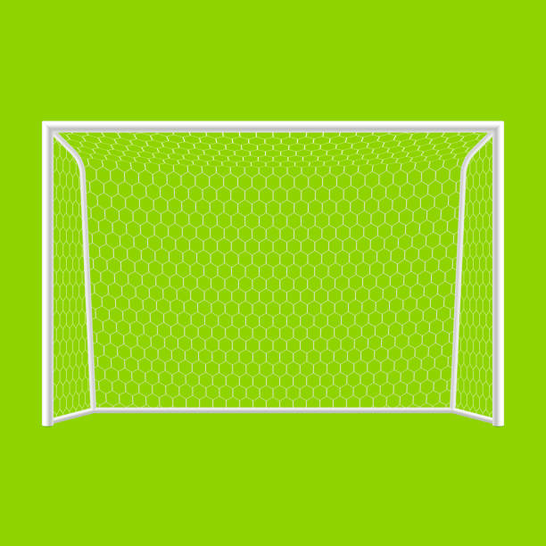 bildbanksillustrationer, clip art samt tecknat material och ikoner med soccer goal in white and green background - handboll