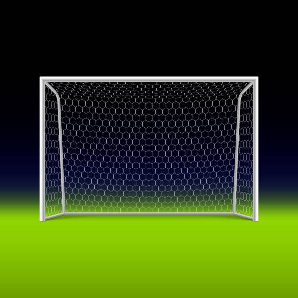 stockillustraties, clipart, cartoons en iconen met soccer goal on black - soccer goal