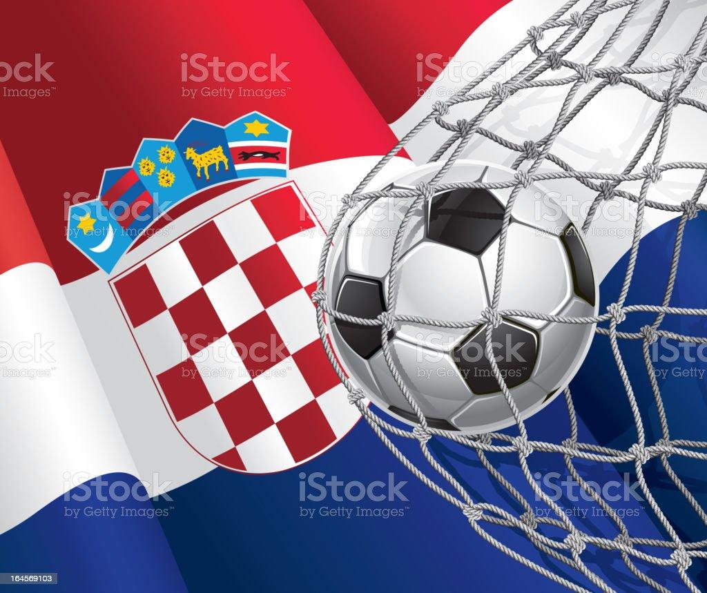 Fußball Ziel auf Kroatien-Flagge. – Vektorgrafik