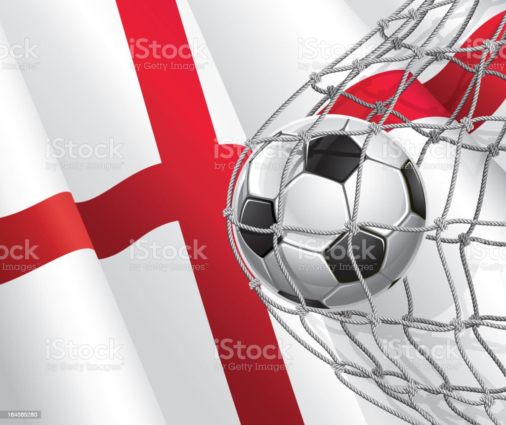 Soccer Goal on English flag. royalty-free stock vector art