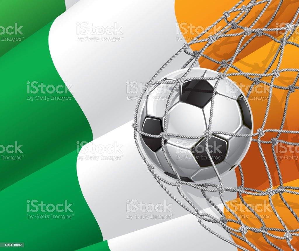 Fußball Ziel auf irische Fahne. – Vektorgrafik