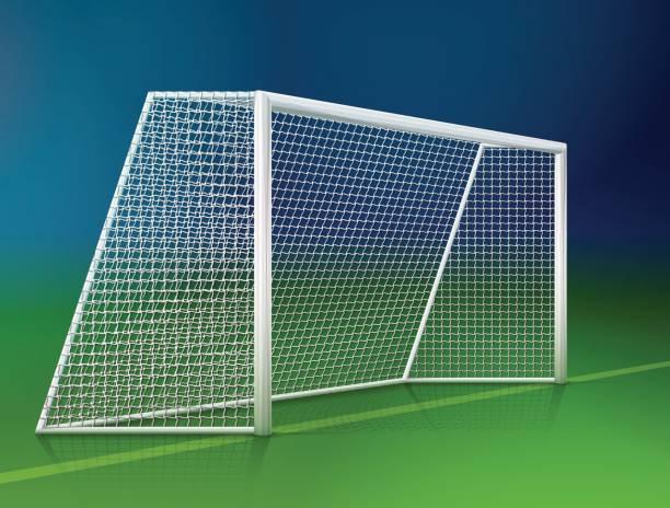 stockillustraties, clipart, cartoons en iconen met soccer goal post with net, side view - soccer goal