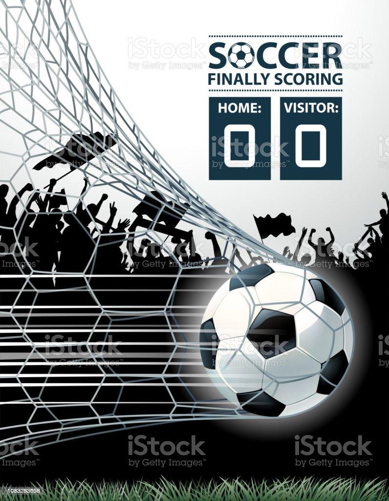 temporada de futebol gol - ilustração de arte em vetor