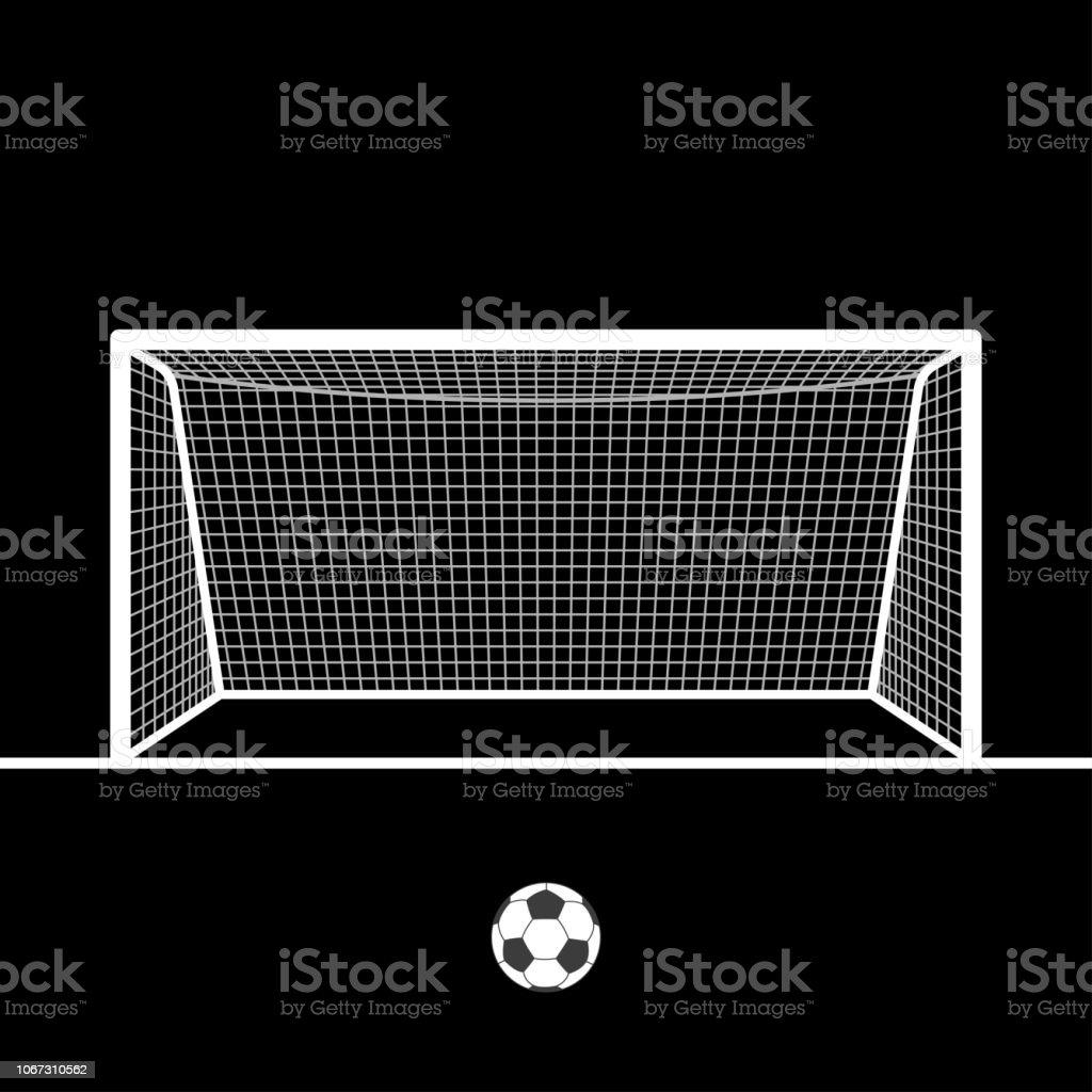 Fussballtor Mit Ball Fussball Hand Gezeichnete Post Oder Tor