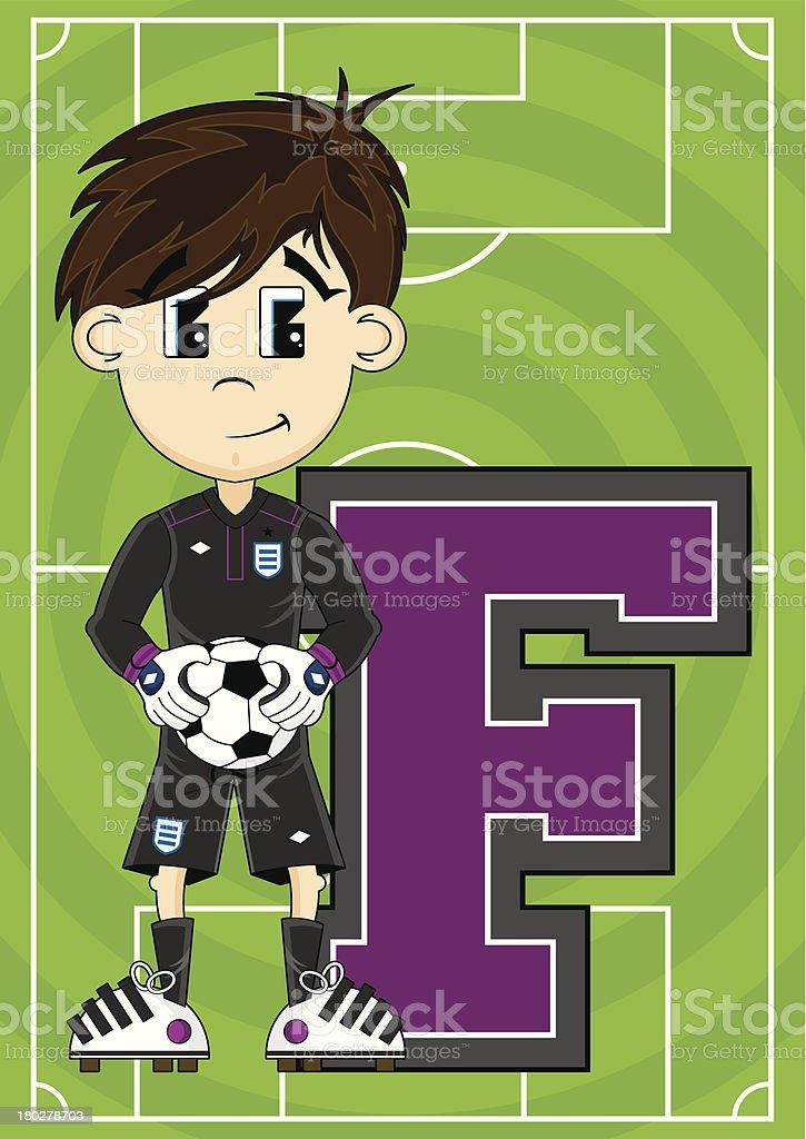 Soccer Goalkeeper Learning Letter F royalty-free stock vector art