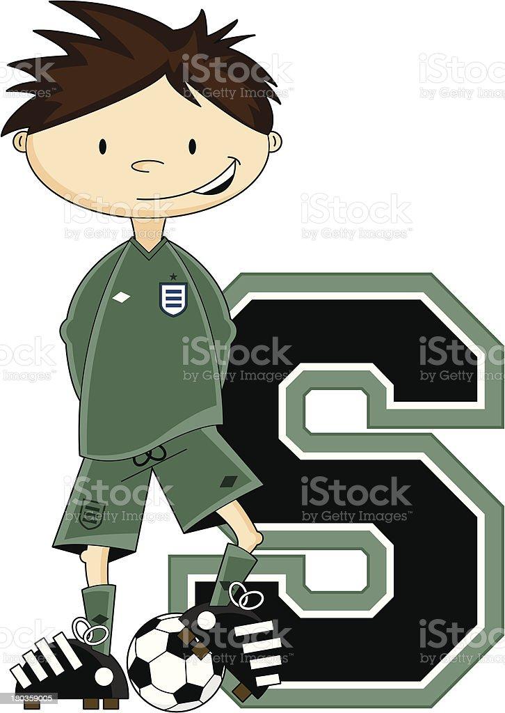Soccer Goalkeeper Learning Letter S royalty-free stock vector art