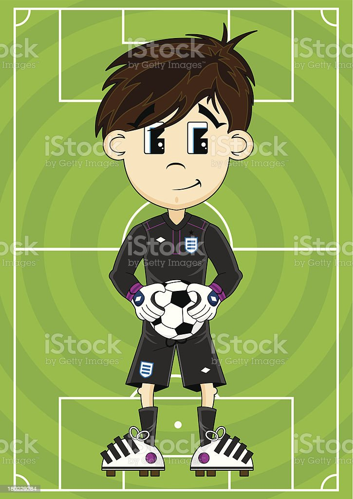 Soccer Goalkeeper on Pitch royalty-free stock vector art