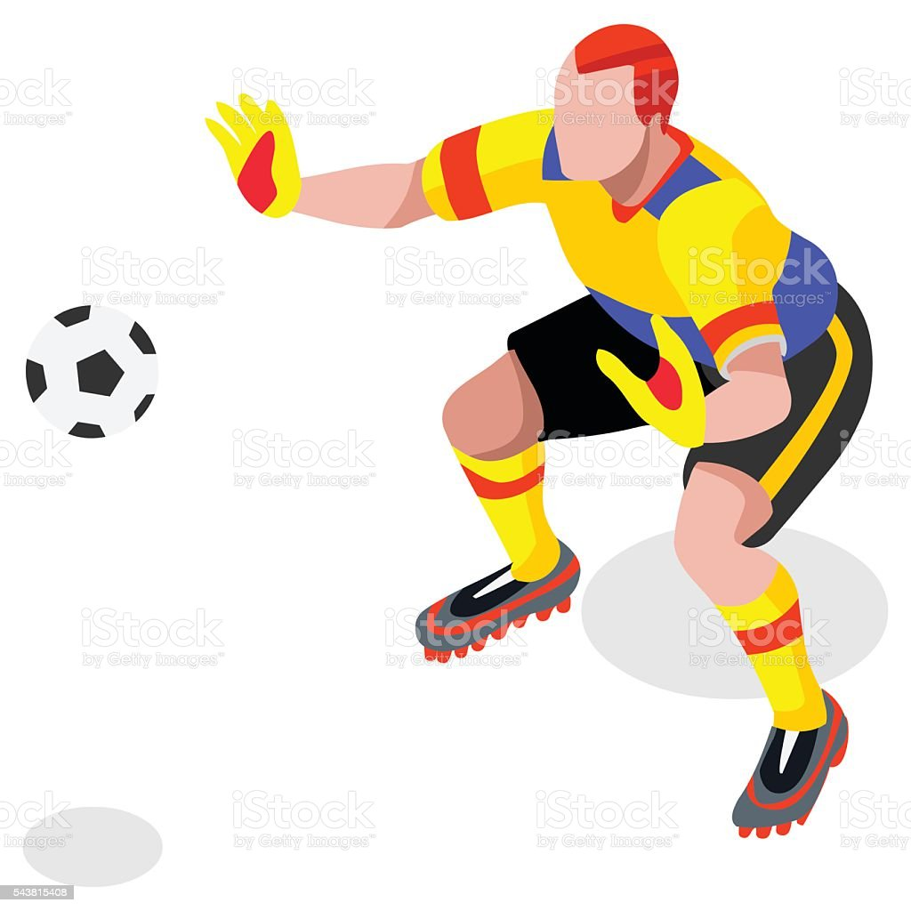 Soccer Goalkeeper Player Athlete Sports Icon Set.3D Isometric Field...