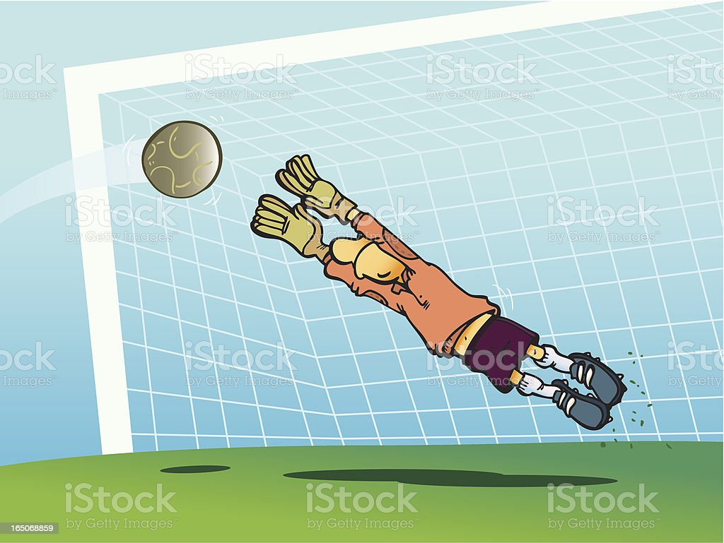 Soccer goalkeeper tries to avoid a goal royalty-free stock vector art