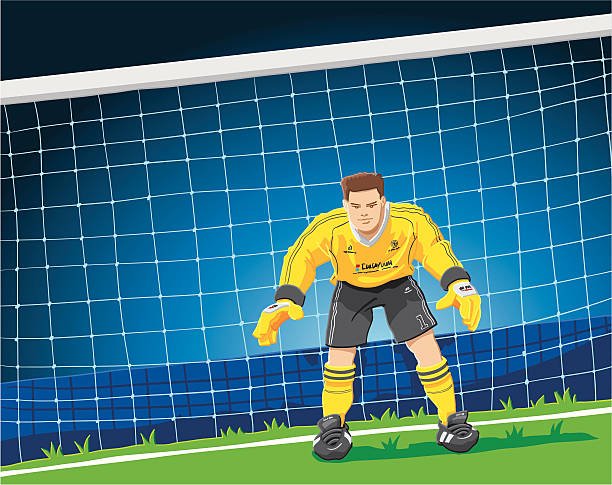 """Soccer Goalkeeper """"Hand-drawn vector illustration of a goalkeeper, who is expecting the imminent shot of the opponents striker. The illustration is on separate layers, so you also can use the goalkeeper on your own background. The colors in the .eps-file are ready for print (CMYK). Included files: EPS (v8) and Hi-Res JPG."""" soccer stock illustrations"""