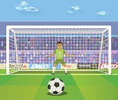 Soccer. Goalkeeper, vector illustration of a goalkeeper prepares to take a penalty.