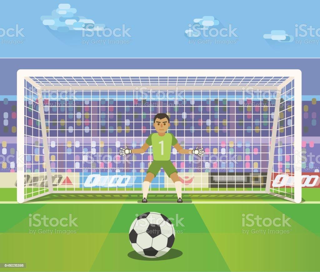 Soccer. Goalkeeper, vector illustration of a goalkeeper prepares to take a penalty. vector art illustration
