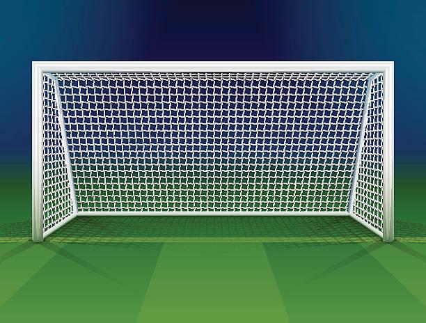 stockillustraties, clipart, cartoons en iconen met soccer goalpost with net - soccer goal