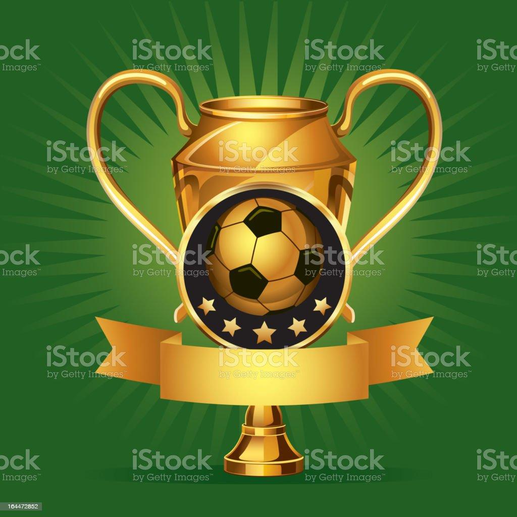 Soccer Golden award Medals. vector art illustration