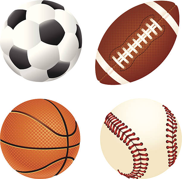 Soccer, gridiron, basketball and baseball balls vector art illustration