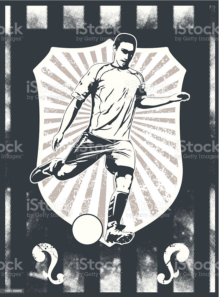 soccer grunge shield with player shooting the ball vector art illustration