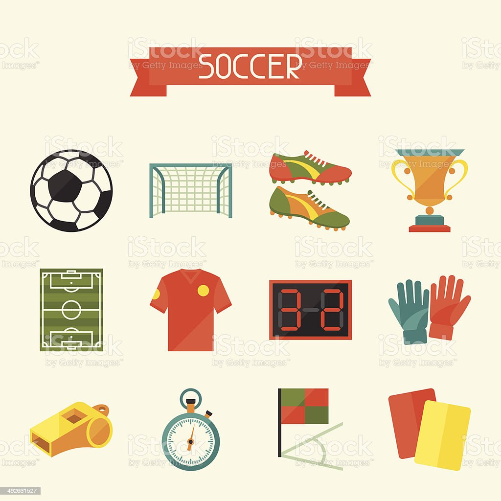 Soccer (football) icon set in flat design style. vector art illustration