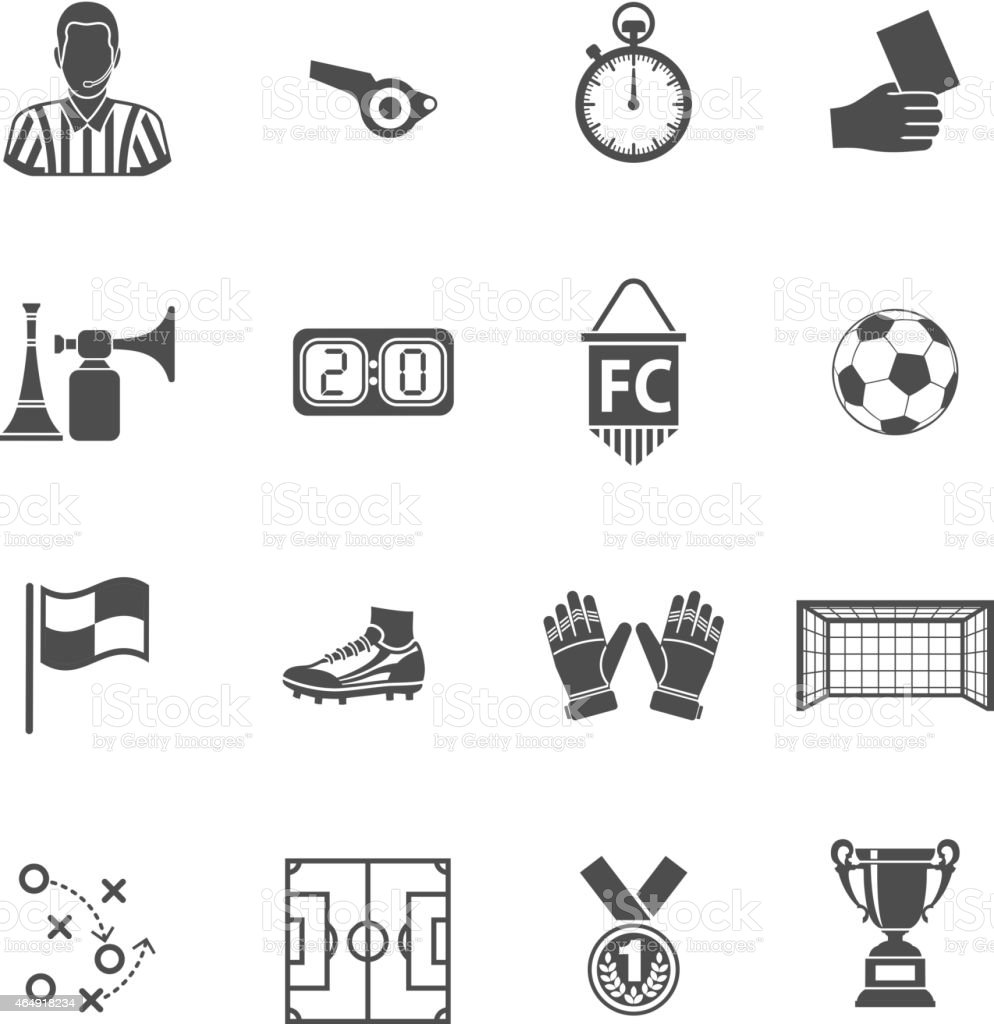 Conjunto de iconos de fútbol - ilustración de arte vectorial